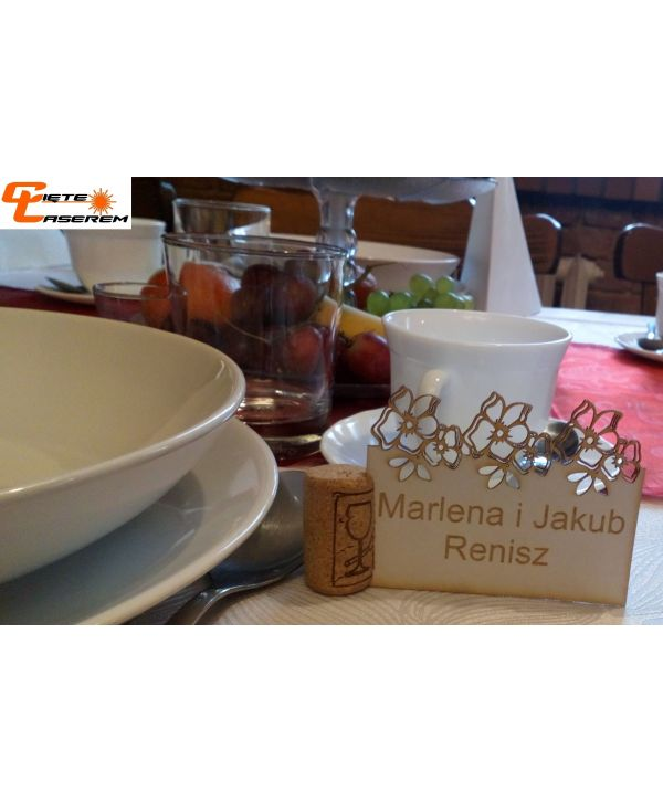 Sklejka winietka 1 wizytówki na stół wesele Komunię urodziny