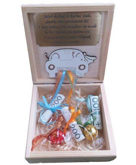 Drewniane pudełko Szkatułka na pieniądze prezent dla Młodej Pary Ślub ślubny od świadka świadkowej