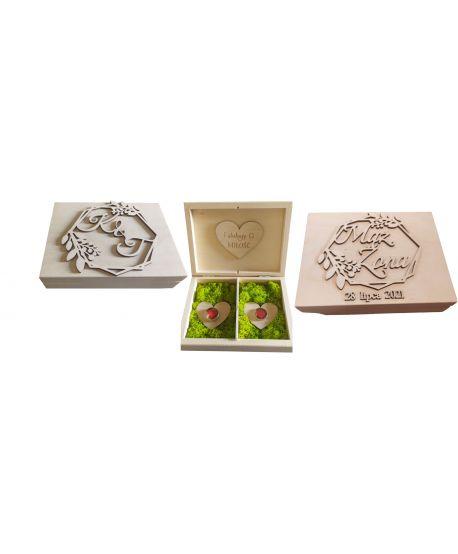 Pudełko pudełka na obrączki z imionami personalizowane wzory drewniane szkatułka dla Młodej Pary Ślub ślubne