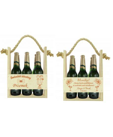 Podziękowanie Prezent dla świadków świadka świadkowej nosidło na piwo kwiaty Skrzynka pudełko na wino ślub wesela ślubny