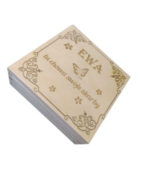 PREZENT DLA DZIEWCZYNKI 6 7 8 9 10 11 12 13 LAT Drewniane pudełko Szkatułka na pieniądze skarby