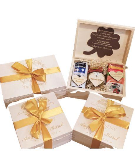Podziękowanie Duże Dla Rodziców Chrzestnych Dziadków Pradziadków Ślub wesele zestaw upominek personalizowana życzeniami